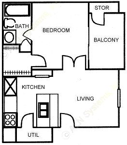 459 sq. ft. A floor plan