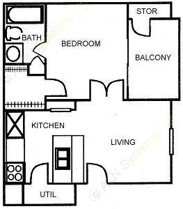 459 sq. ft. A floor plan