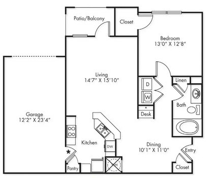 890 sq. ft. A1-G floor plan