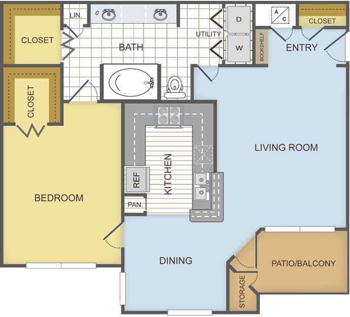 835 sq. ft. BIRCH floor plan