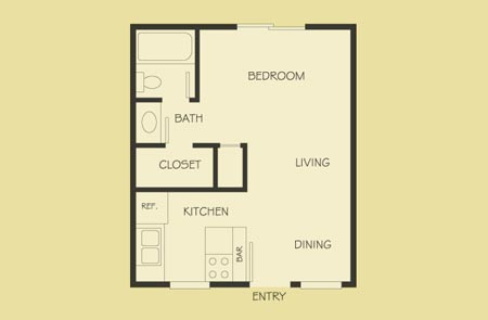 350 sq. ft. floor plan
