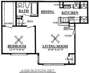 650 sq. ft. A1/60% floor plan