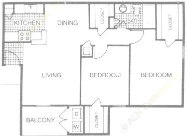 890 sq. ft. B2 floor plan