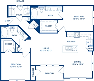 1,210 sq. ft. B3C floor plan