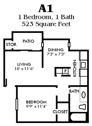 523 sq. ft. A1/Mkt floor plan