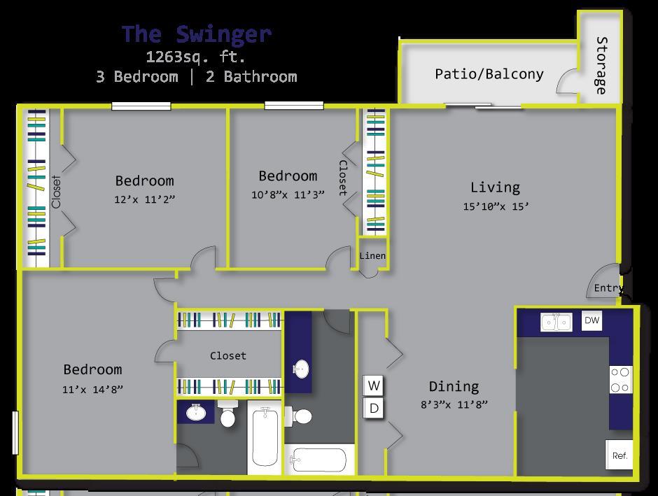 1,263 sq. ft. C1 floor plan