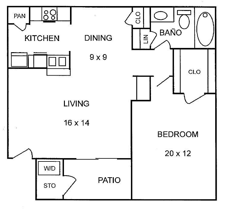 630 sq. ft. Willow floor plan