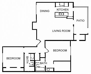 990 sq. ft. B21 floor plan