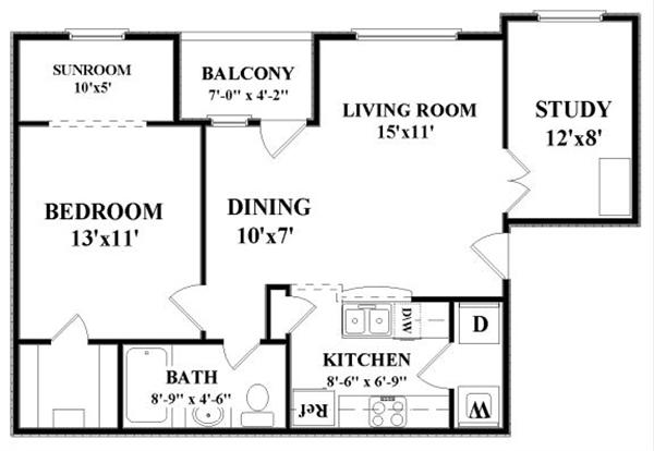 771 sq. ft. Oriental floor plan