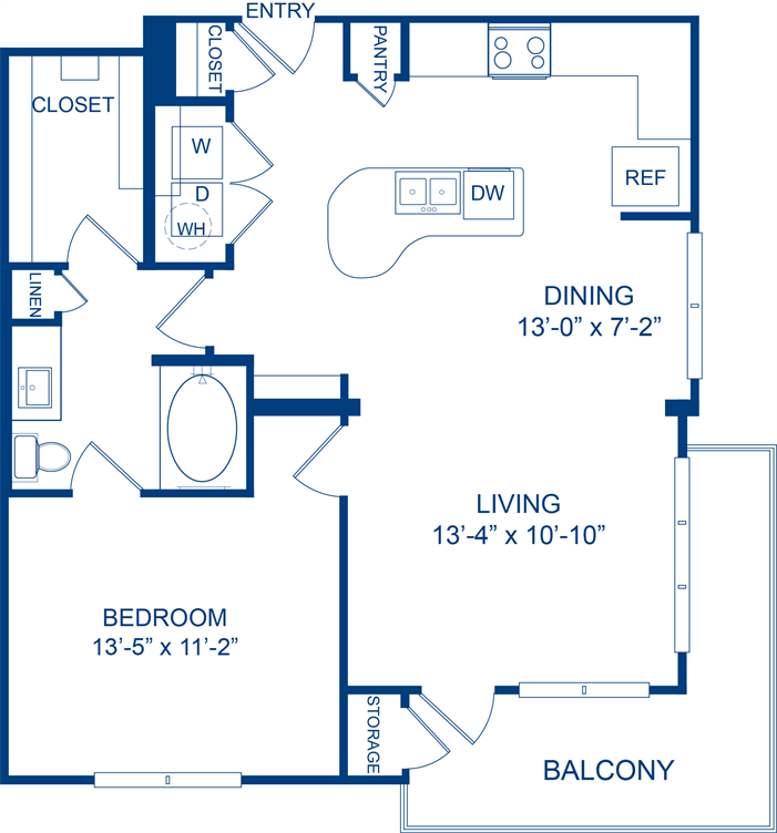 819 sq. ft. Greenthread floor plan