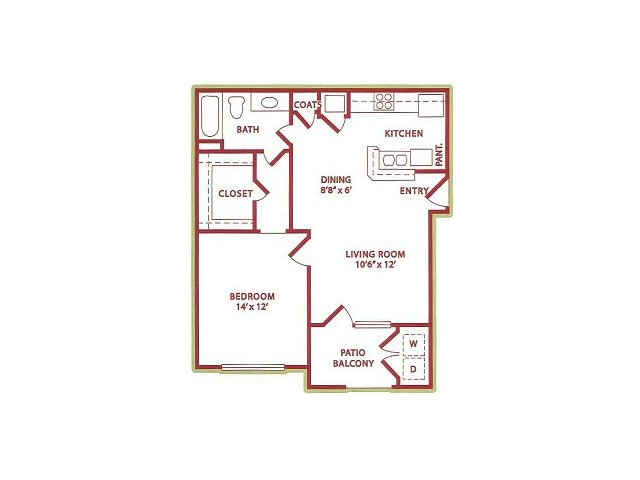 680 sq. ft. (A1) Spring floor plan
