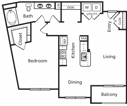 915 sq. ft. B6 floor plan
