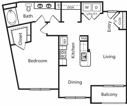 915 sq. ft. B6 floor plan