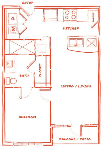 589 sq. ft. A1 floor plan
