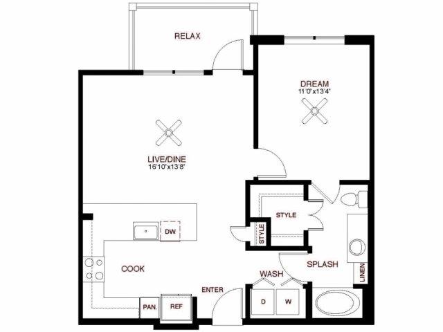 760 sq. ft. Runnels floor plan