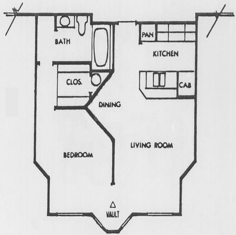 554 sq. ft. O floor plan
