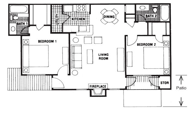 1,000 sq. ft. Triple Crown floor plan