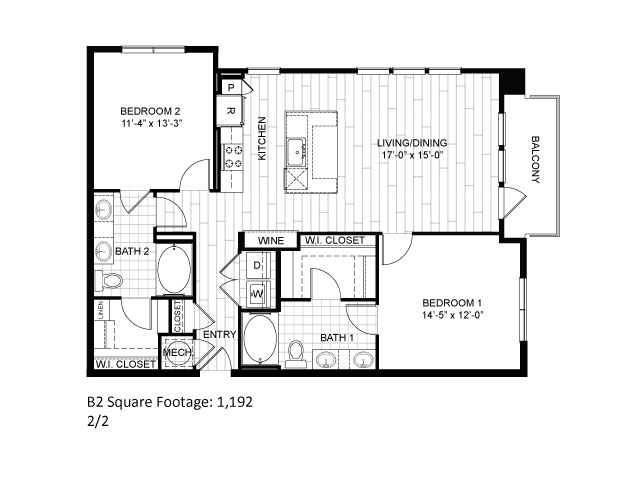 1,192 sq. ft. B2 floor plan