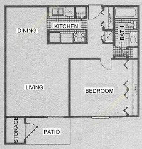751 sq. ft. A3 floor plan