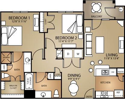 925 sq. ft. MAPLE 60 floor plan