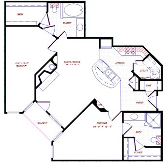 1,105 sq. ft. floor plan