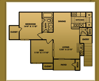 841 sq. ft. A-3 floor plan