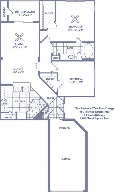 980 sq. ft. B2G floor plan