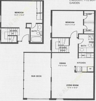 1,064 sq. ft. GARDEN floor plan