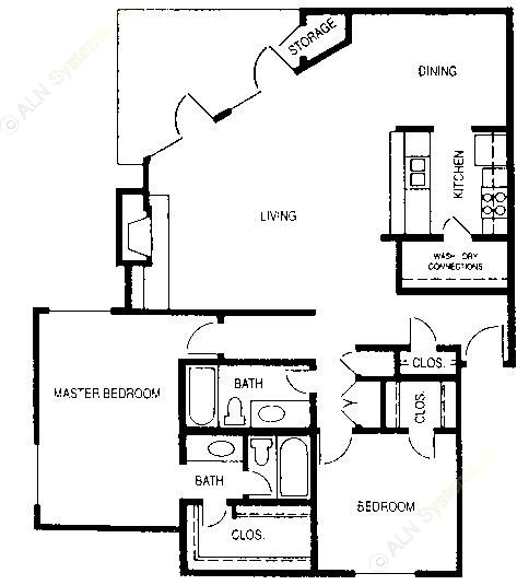 1,256 sq. ft. Henry floor plan