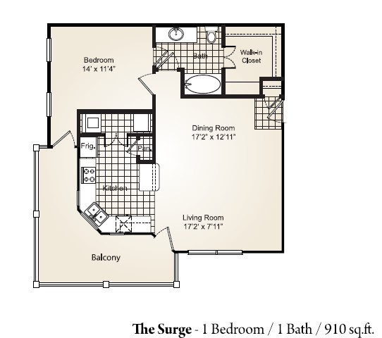 910 sq. ft. SURGE floor plan