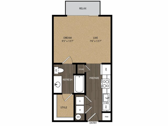 510 sq. ft. Trinity E1 floor plan
