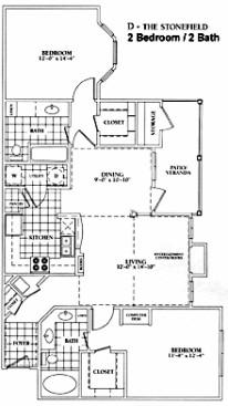 1,120 sq. ft. D-Stonefield Mkt floor plan