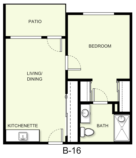 549 sq. ft. B16 floor plan