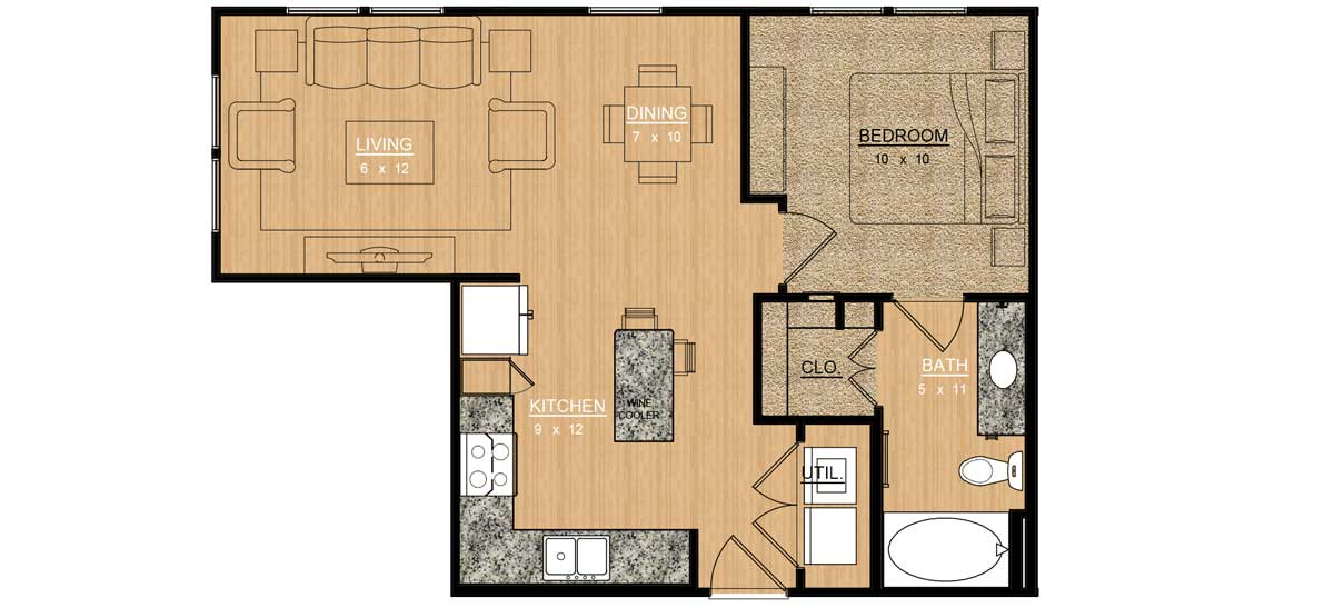 655 sq. ft. Aster floor plan