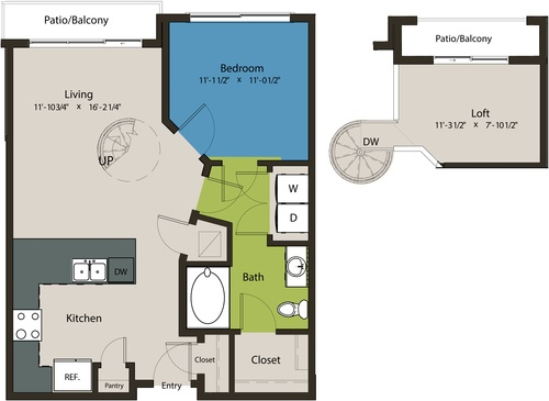 821 sq. ft. A1C-L1 floor plan