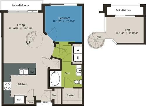 821 sq. ft. A1C-L1 floor plan
