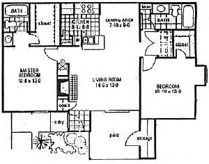 1,087 sq. ft. B2 floor plan