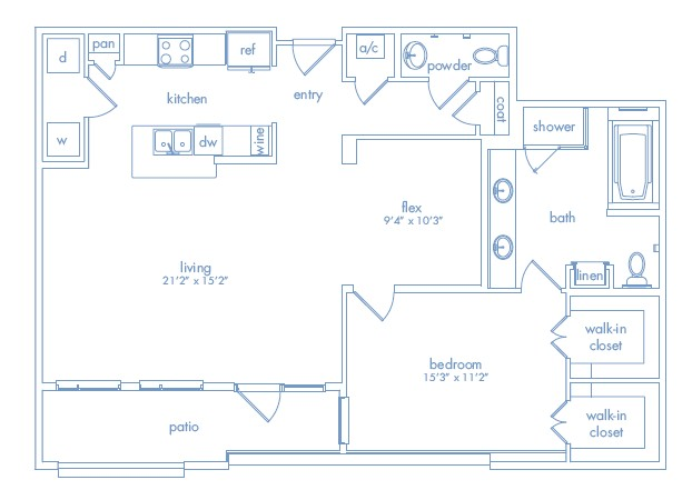 1,211 sq. ft. MIRO TWO floor plan