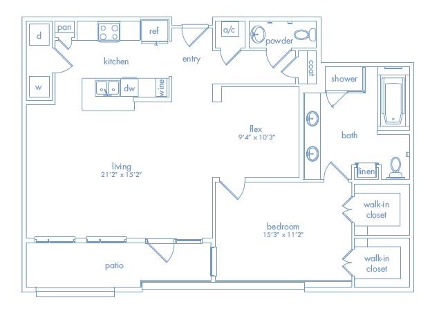 1,211 sq. ft. Miro Two floor plan