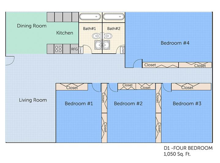 1,050 sq. ft. D1 floor plan