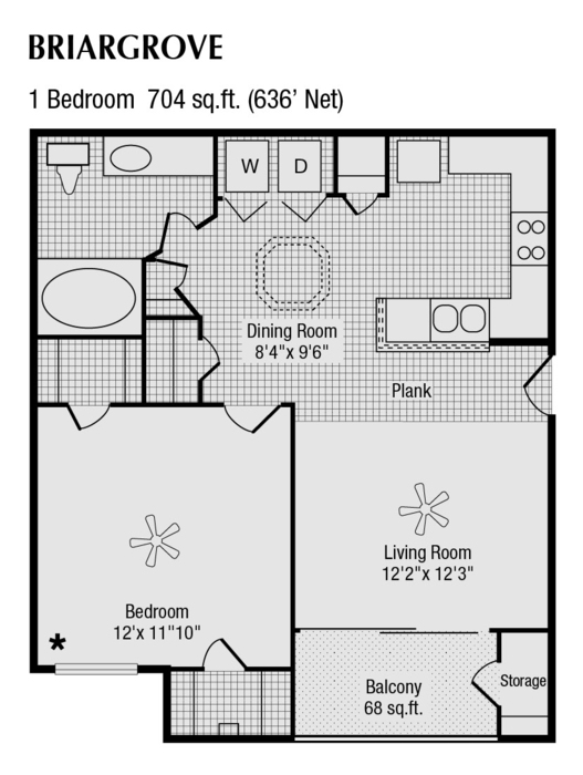 636 sq. ft. to 704 sq. ft. B floor plan