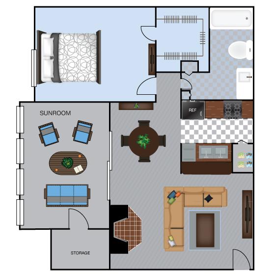 839 sq. ft. A5S floor plan