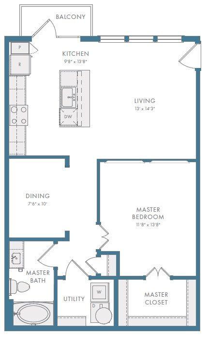 860 sq. ft. A3AR floor plan