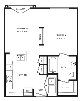 609 sq. ft. E3 floor plan