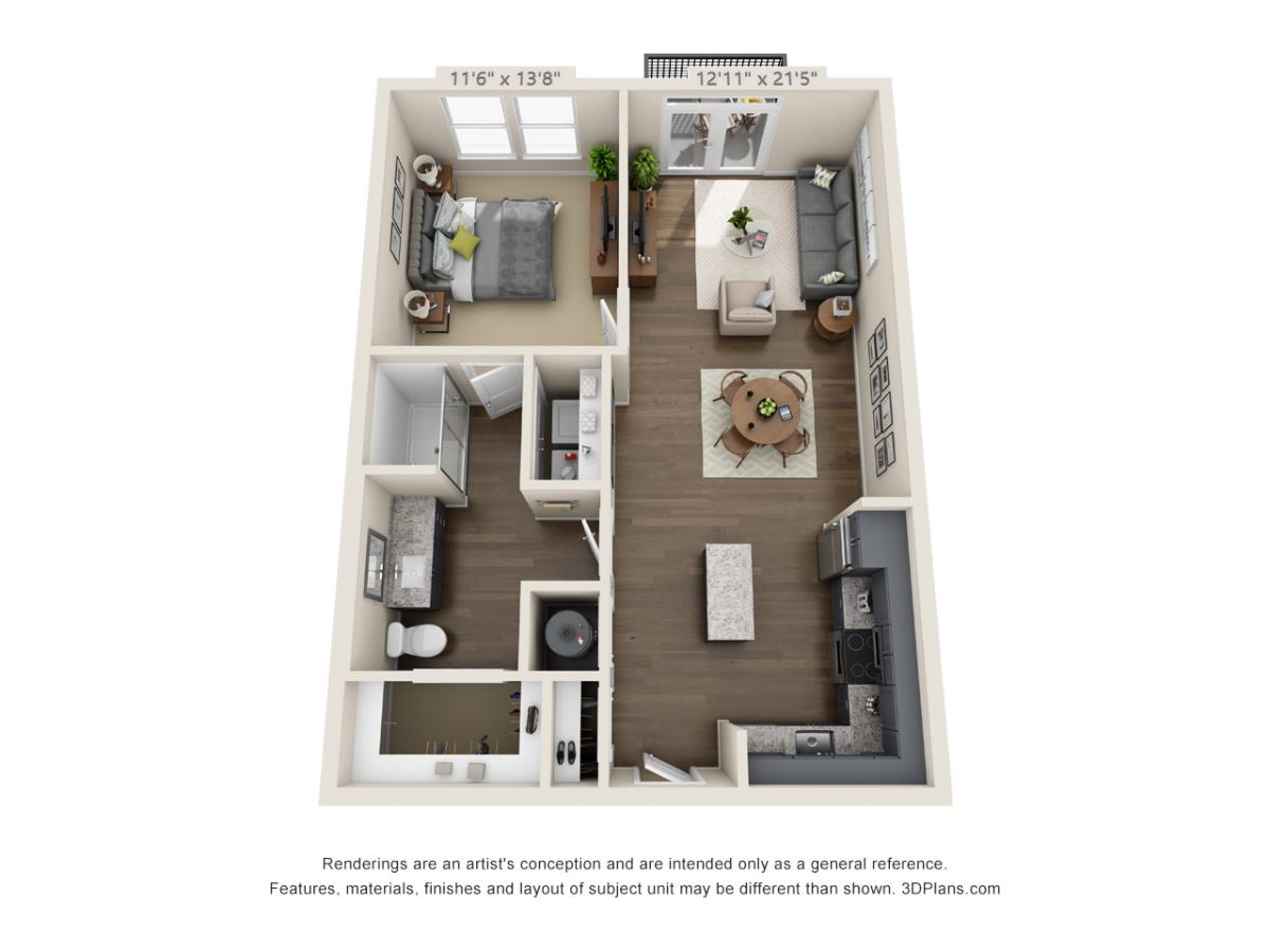 751 sq. ft. A3B floor plan