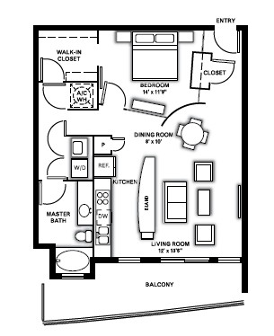 888 sq. ft. A1B floor plan