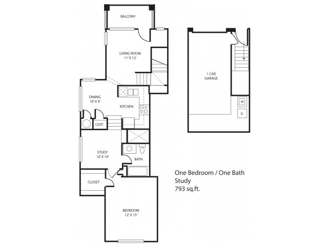 793 sq. ft. Montfort floor plan