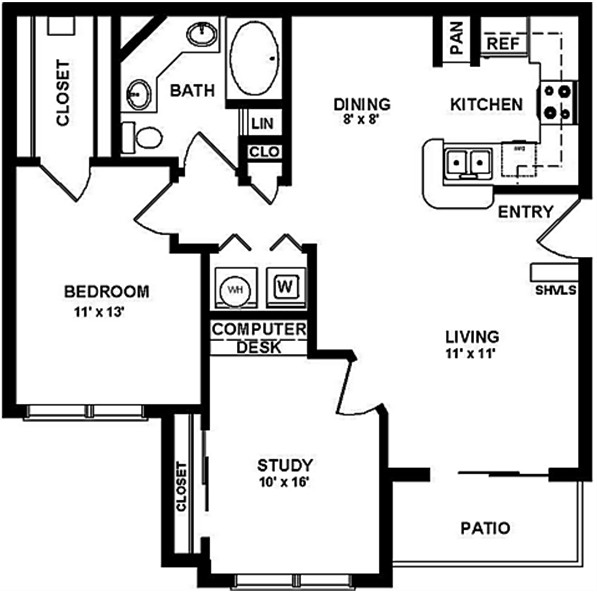 943 sq. ft. C floor plan