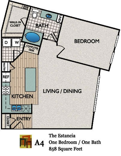 858 sq. ft. Estancia floor plan