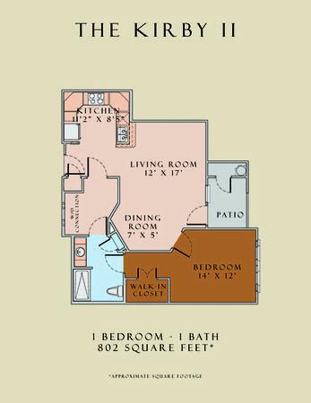 802 sq. ft. Kirby II/60 floor plan